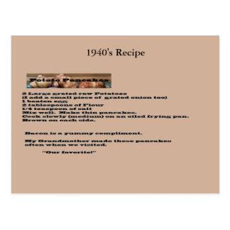 Carte postale vintage de recette de crêpe de pomme