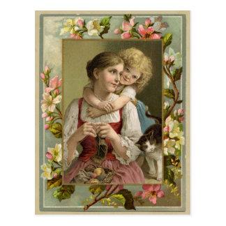 Carte postale vintage de reproduction de mère et