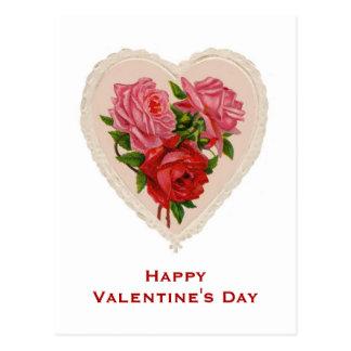 Carte postale vintage de Saint-Valentin de coeur