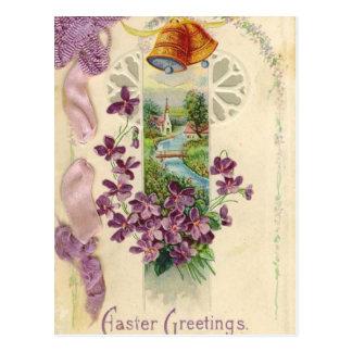 Carte postale vintage de salutation de Pâques de
