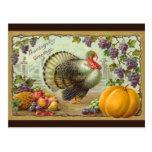 Carte postale vintage de salutations de thanksgivi