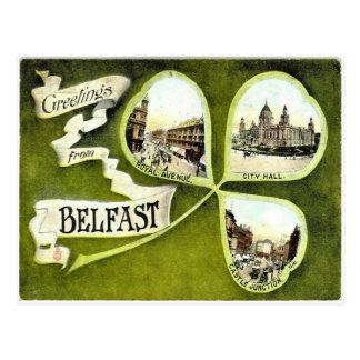 Carte postale vintage de shamrock de Belfast