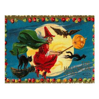 Carte postale vintage de sorcière de vol de
