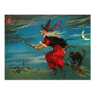 Carte postale vintage de sorcière, Halloween, chat