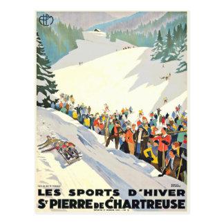 Carte postale vintage de station de sports d hiver