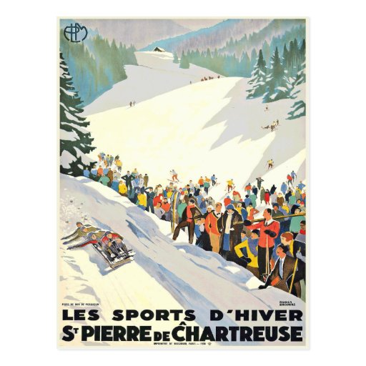 Carte postale vintage de station de sports d'hiver