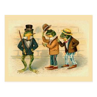 """Carte postale vintage de """"trois grenouilles"""