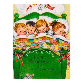 Carte postale vintage de vacances d'enfants de