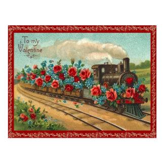 Carte postale vintage de Valentine de train