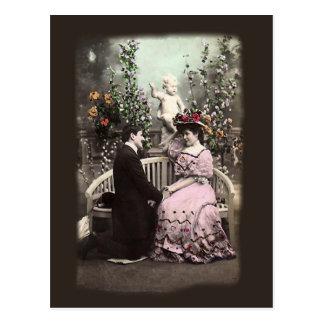 Carte postale vintage de Valentines de proposition
