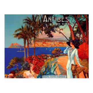 Carte postale vintage de voyage d'Antibes Cote