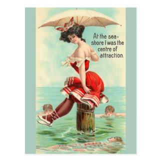 Carte postale vintage de voyage de bord de mer