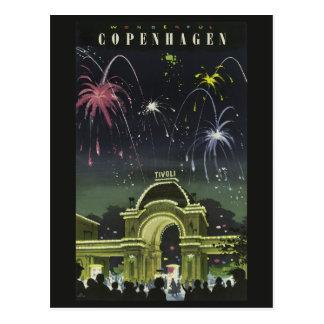 Carte postale vintage de voyage de Copenhague