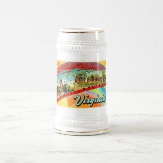 Carte postale vintage de voyage de Harrisonburg la Chope À Bière