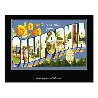 Carte postale vintage de voyage de la Californie