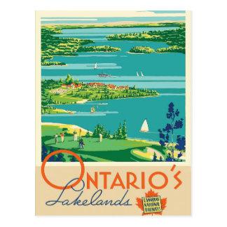 Carte postale vintage de voyage de lacs ontario