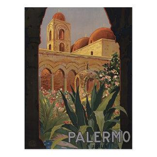 Carte postale vintage de voyage de Palerme Sicile