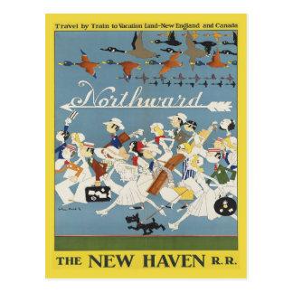 Carte postale vintage de voyage pour la Nouvelle