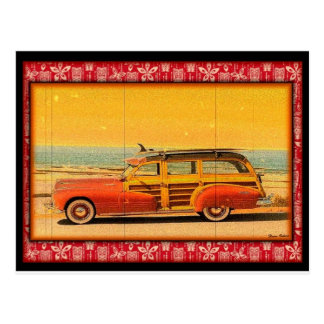 carte postale vintage de woodie de surf