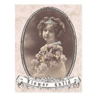 carte postale vintage d'enfant de fleur de photo