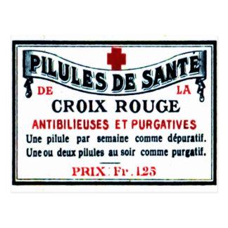 Carte postale vintage d'étiquette de fard à joues