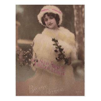 Carte postale vintage d'hiver de Bonne Annee