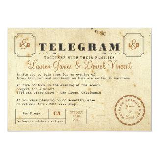 Carte postale vintage d'invitation de télégramme