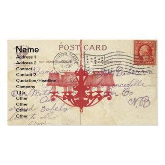 Carte postale vintage et lustre carte de visite