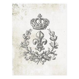 Carte Postale Vintage Fleur de Lis et Couronne-carte postale