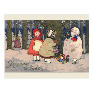 """Carte postale vintage française de Noël de """"Joyeux"""