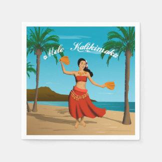Carte postale vintage hawaïenne de Mele Kalikimaka Serviette Jetable