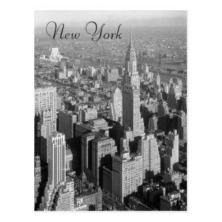 Carte postale vintage noire et blanche de New York
