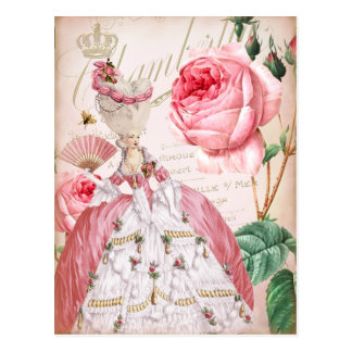 Carte postale vintage rose de roses de Marie