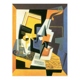 Carte Postale Violon et verre par Juan Gris, cubisme vintage
