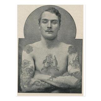 Carte Postale Virago Bruce, le marin australien tatoué