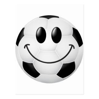 Carte Postale Visage de smiley de ballon de football