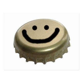 Carte Postale Visage de smiley de casquette de bouteille à bière
