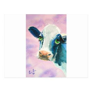 Carte Postale Visage de vache avec la peinture d'aquarelle de