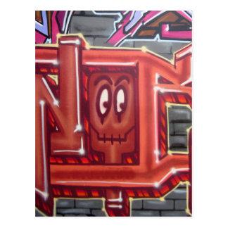 Carte Postale Visage rouge de graffiti