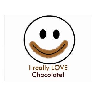 """Carte Postale Visage souriant de chocolat """"j'AIME vraiment le"""