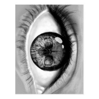 Carte Postale Vision de double d'oeil de crâne