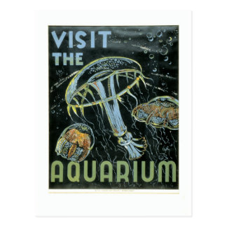 Carte Postale Visitez l'aquarium - l'affiche de WPA -