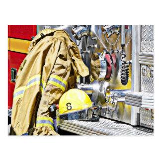 Carte Postale Vitesse et camion de pompiers de pompier de HDR