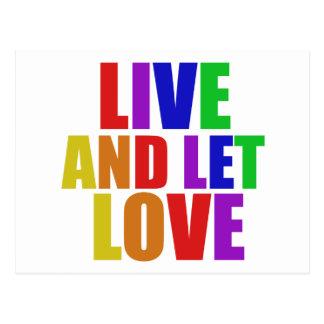 Carte Postale Vivez et laissez l'arc-en-ciel d'homosexuel