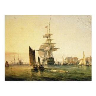 Carte Postale voie HMP Britannia entrant dans Portsmouth, 1835