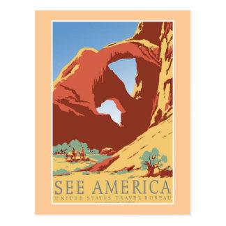 """Carte Postale """"Voir l'affiche vintage de voyage de l'Amérique"""