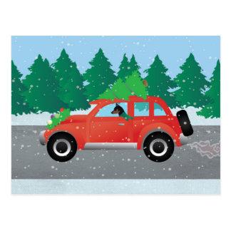 Carte Postale Voiture de Noël de Pinscher miniature