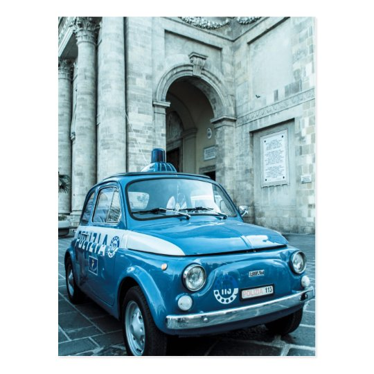 carte postale voiture de police de fiat 500 en italie. Black Bedroom Furniture Sets. Home Design Ideas