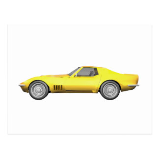 Carte Postale Voiture de sport 1970 de Corvette : Finition jaune