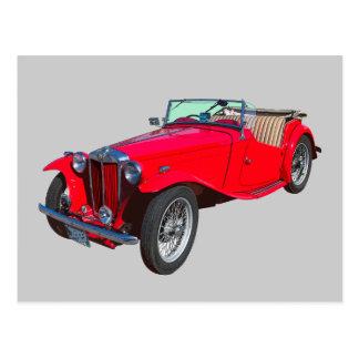 Carte Postale Voiture de sport antique convertible rouge de MG